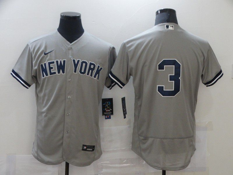 Cheap Men New York Yankees 3 No name Grey Elite Nike MLB Jerseys